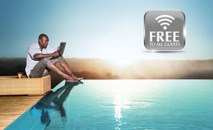 Man At Pool On Laptop WiFi Promo