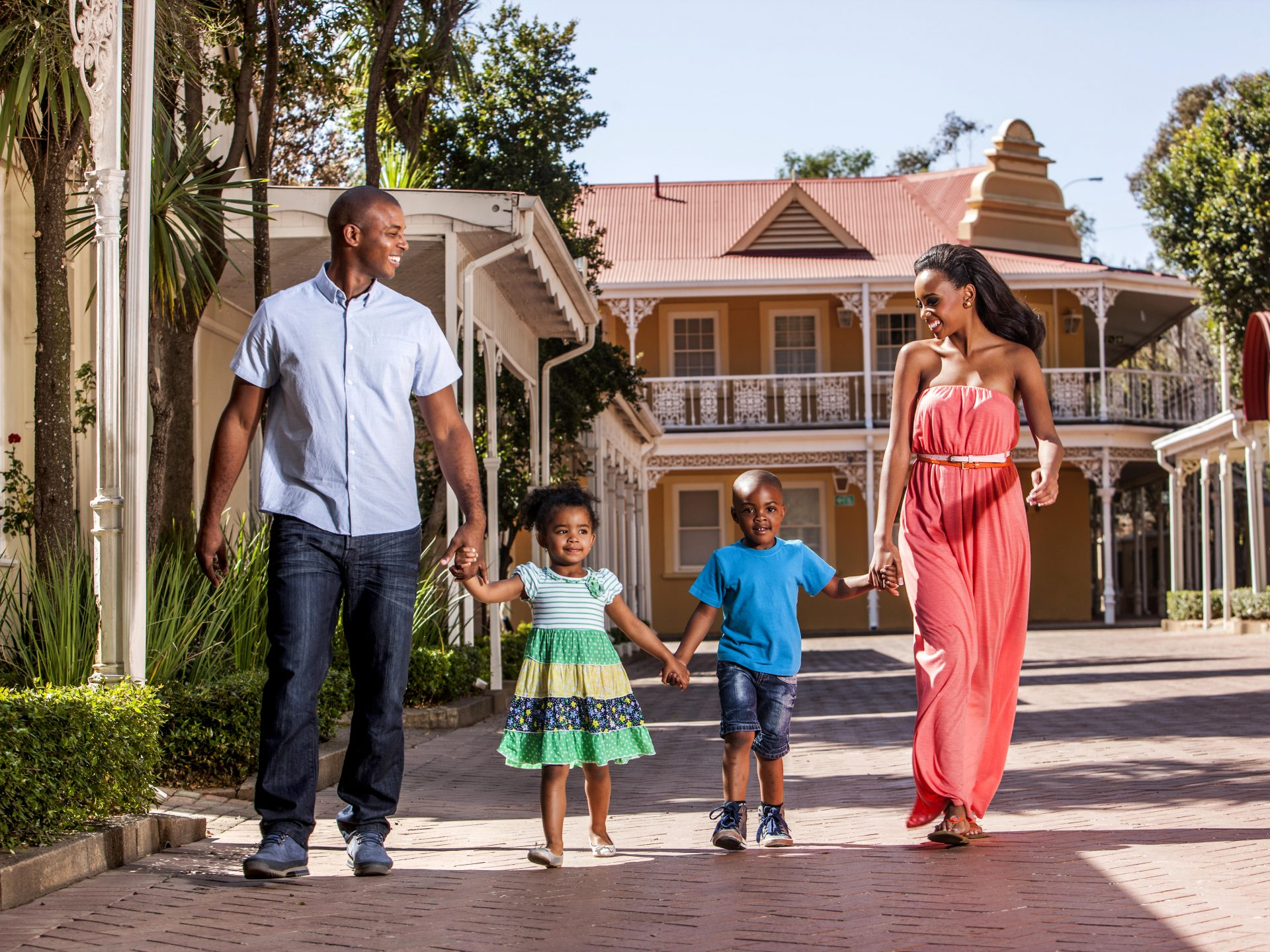 Family taking a stroll at Gold Reef City