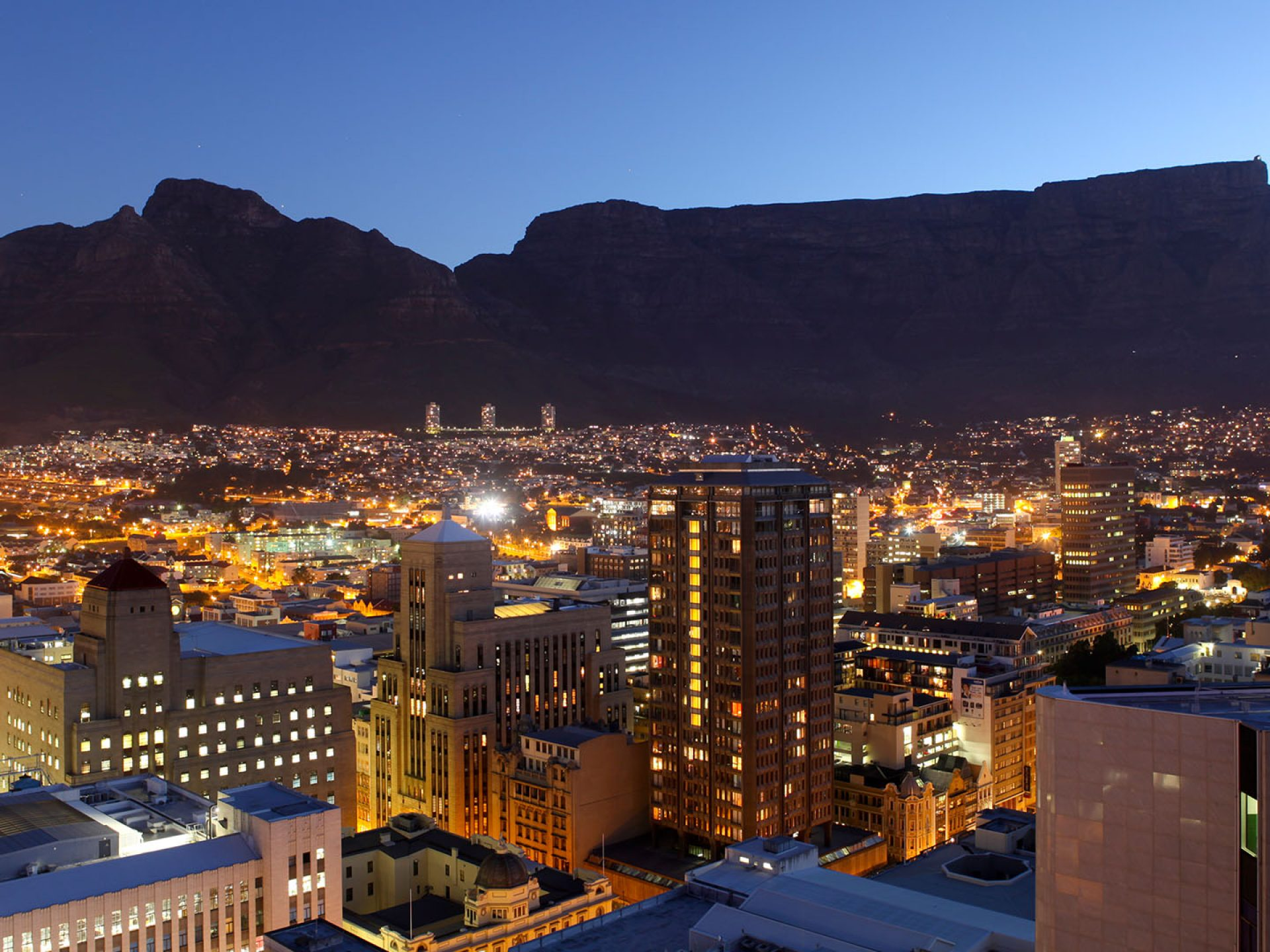 View The City Of Cape Town And The Mountain By Night