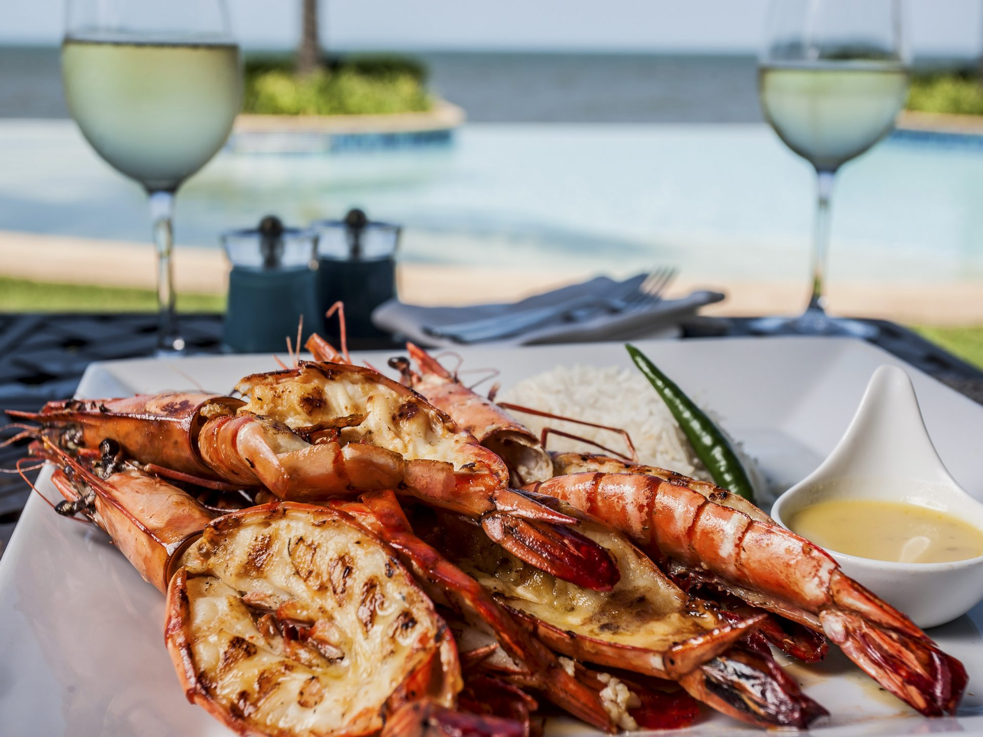 Prawns On A Plate At The Poolside