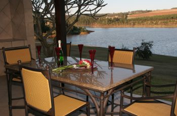 Table on patio overlooking the lake