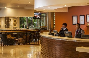 Receptionists in the lobby at Garden Court Hatfield