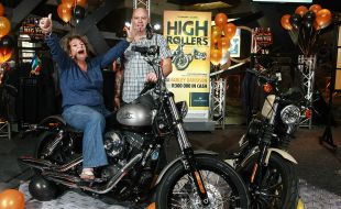 High Roller Rides Off on a Harley Davidson