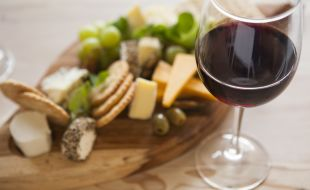 Café Cru Wine and Cheese on a wooden Platter
