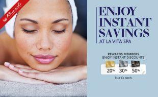Enjoy instant savings at La Vita Spa