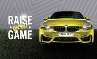 Raise your game banner with a yellow car