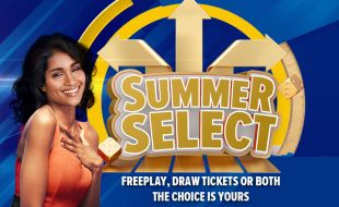 Lady in a orange jumpsuit next to the Summer Select gaming promotion banner