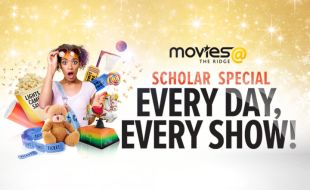 Girl child surrounded with pop corn, candy, teddy bears and movies@ tickets